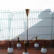 Vintage: LAMPARA TECHO ANTIGUA VINTAGE DORADA TECA AÑOS 50. Lote 52332889