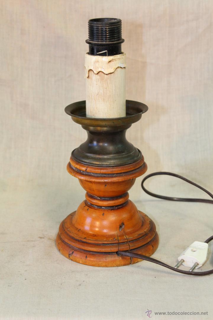 PIE DE LAMPARA SOBREMESA EN MADERA (Vintage - Lámparas, Apliques, Candelabros y Faroles)