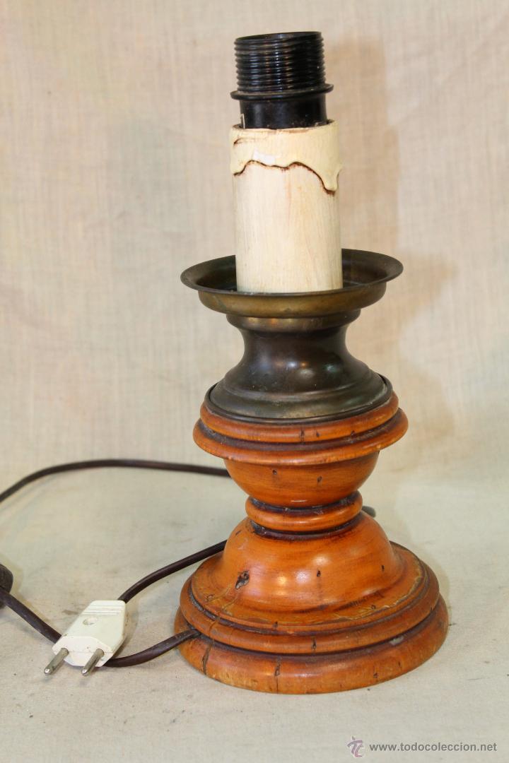 Vintage: PIE DE LAMPARA SOBREMESA EN MADERA - Foto 2 - 52424868
