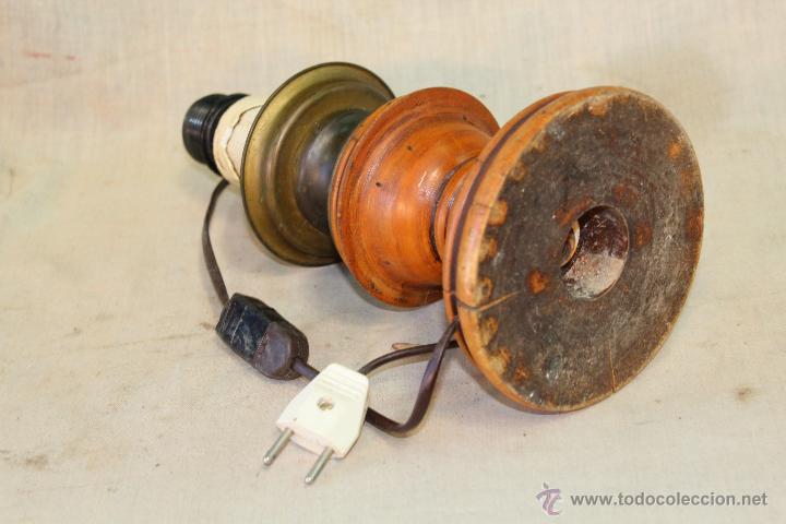Vintage: PIE DE LAMPARA SOBREMESA EN MADERA - Foto 3 - 52424868
