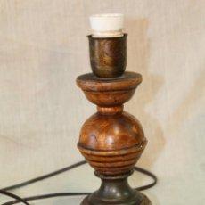 Vintage: PIE DE LAMPARA SOBREMESA EN MADERA. Lote 52424899