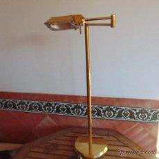 Vintage: LAMPARA DE PIE EN METAL DORADO ORIENTABLE Y SE PUEDE PONER EN DIFERENTES ALTURAS. Lote 52631989