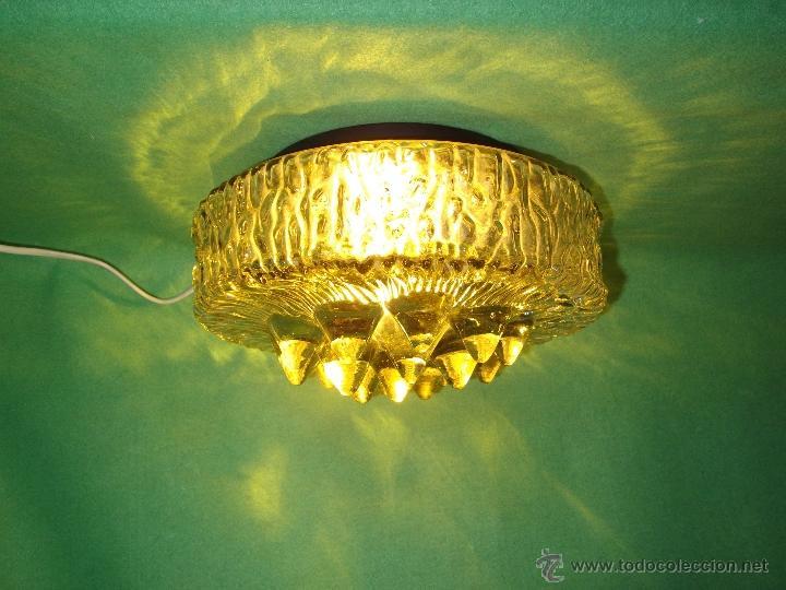 Vintage: IMPRESIONANTE LAMPARA PLAFON APLIQUE TECHO CRISTAL METAL ORIGINAL AÑOS 60 VINTAGE MID CENTURY - Foto 11 - 53125600