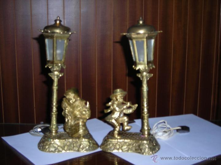 dos bellsimas lmparas de mesita de noche en bronce vintage lmparas