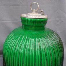 Vintage: GRAN LAMPARA CRISTAL VERDE TULIPA ANTIGUA DE OPALINA VERDE MADE IN SPAIN , MIDE 27 CM X 31 CM, UNICA. Lote 53587253