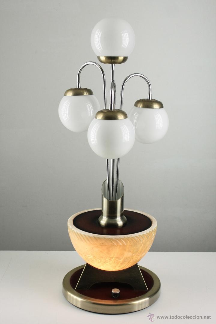 Vintage: gran lámpara sobremesa space age cromado base marmol años 60 vintage retro - Foto 7 - 84832448