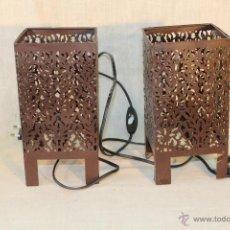 Vintage: PAREJA DE LAMPARAS DE SOBREMESA EN FORJA. Lote 53738053