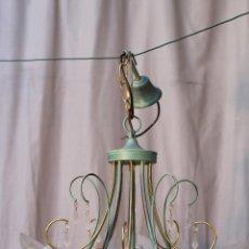 Vintage: LAMPARA DE TECHO EN METAL Y CRISTAL. Lote 54483108