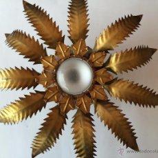 Vintage: LAMPARA DE TECHO PLAFON SOL HOJAS EN METAL DORADO AÑOS 60. Lote 54640981