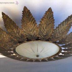 Vintage: LAMPARA PLAFON TIPO SOL HOJAS HIERROS ARTISTICOS CONDAL BARCELONA AÑOS 60. Lote 54770843