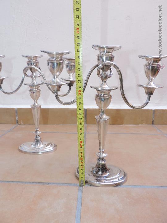 Vintage: Antiguos Candelabros Pareja - Tres Velas - Plateados Made in England Silver Plated - Muy Elegantes - Foto 3 - 88907754