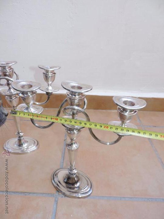 Vintage: Antiguos Candelabros Pareja - Tres Velas - Plateados Made in England Silver Plated - Muy Elegantes - Foto 4 - 88907754