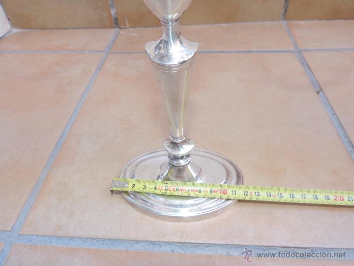 Vintage: Antiguos Candelabros Pareja - Tres Velas - Plateados Made in England Silver Plated - Muy Elegantes - Foto 5 - 88907754