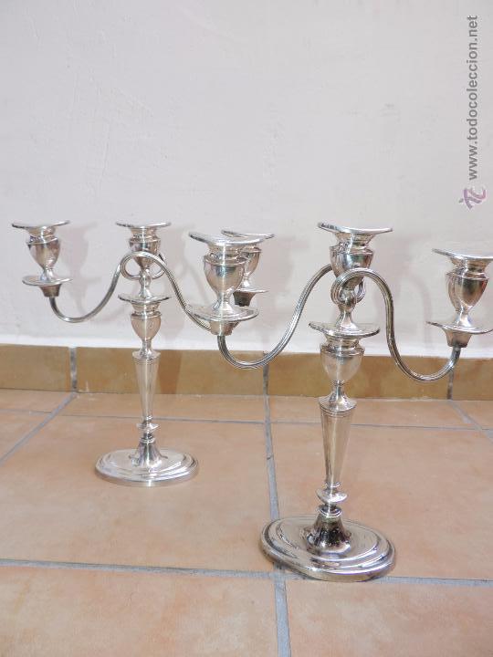 Vintage: Antiguos Candelabros Pareja - Tres Velas - Plateados Made in England Silver Plated - Muy Elegantes - Foto 7 - 88907754