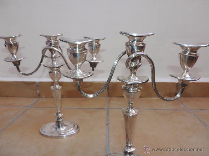 Vintage: Antiguos Candelabros Pareja - Tres Velas - Plateados Made in England Silver Plated - Muy Elegantes - Foto 8 - 88907754
