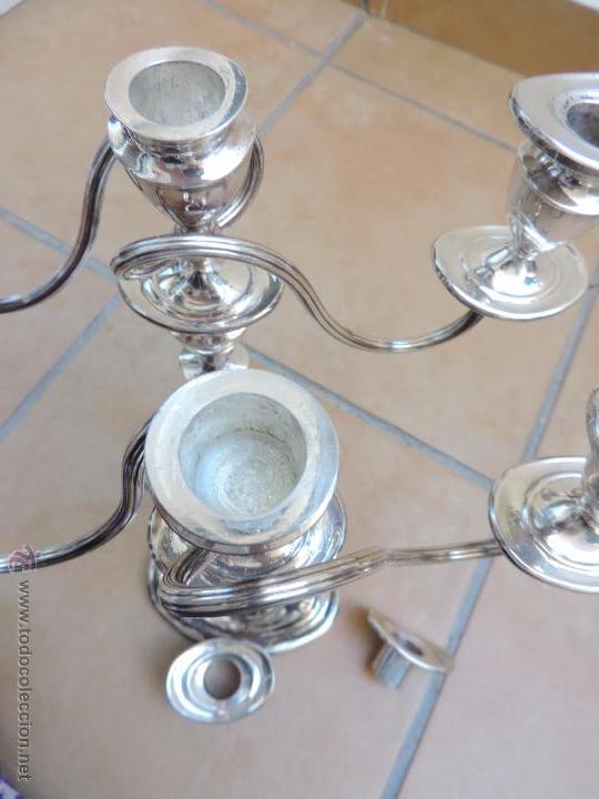 Vintage: Antiguos Candelabros Pareja - Tres Velas - Plateados Made in England Silver Plated - Muy Elegantes - Foto 9 - 88907754