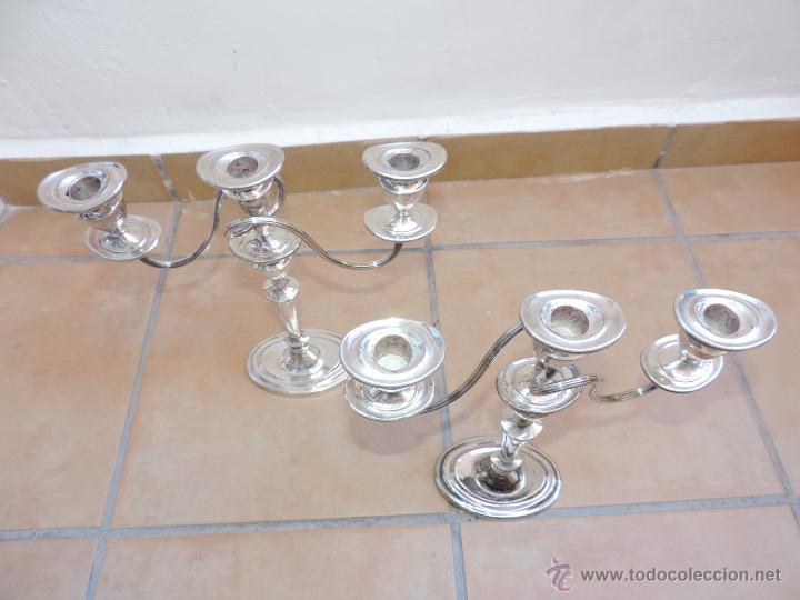Vintage: Antiguos Candelabros Pareja - Tres Velas - Plateados Made in England Silver Plated - Muy Elegantes - Foto 12 - 88907754