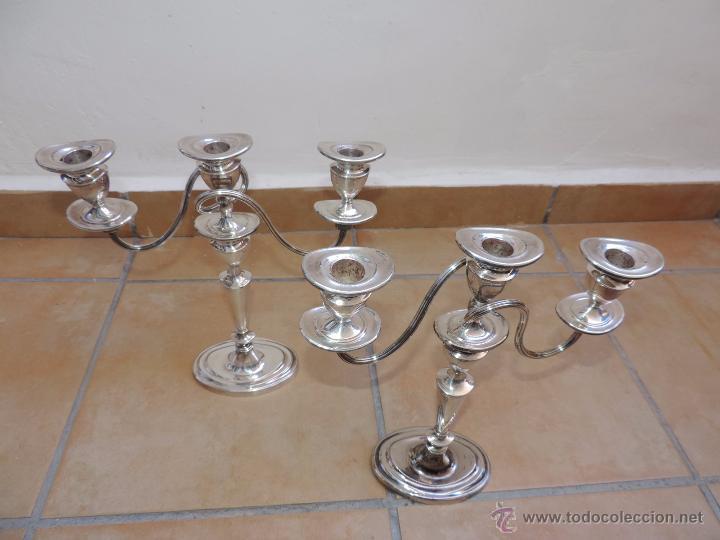 Vintage: Antiguos Candelabros Pareja - Tres Velas - Plateados Made in England Silver Plated - Muy Elegantes - Foto 13 - 88907754