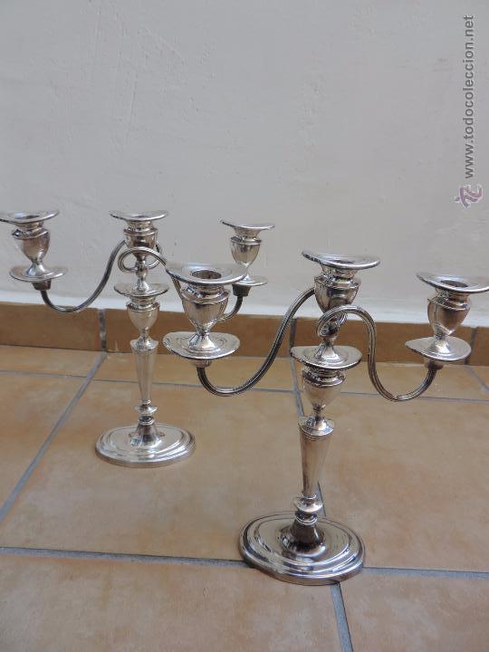 Vintage: Antiguos Candelabros Pareja - Tres Velas - Plateados Made in England Silver Plated - Muy Elegantes - Foto 14 - 88907754