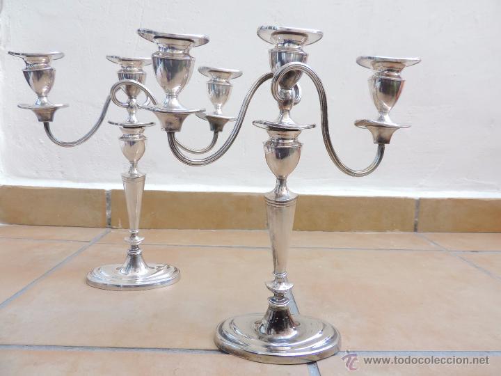 Vintage: Antiguos Candelabros Pareja - Tres Velas - Plateados Made in England Silver Plated - Muy Elegantes - Foto 15 - 88907754