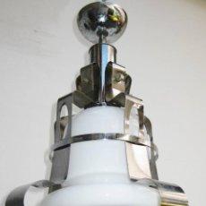Vintage: LAMPARA VINTAGE METAL CROMADO Y GRAN TULIPA CRISTAL MURANO DISEÑO ITALIA SPACE AGE ERA ESPACIAL . Lote 55043952