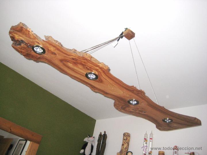 L mpara de techo en madera de olmo comprar l mparas - Lamparas rusticas segunda mano ...
