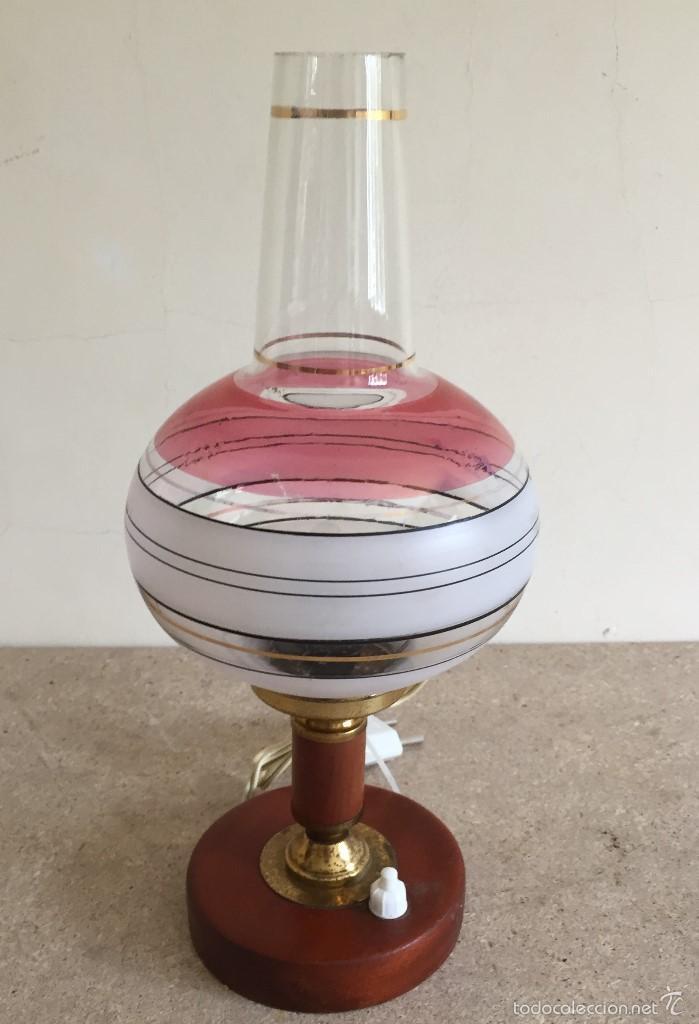 LÁMPARA MESILLA BASE MADERA TULIPA ABOMBADA (Vintage - Lámparas, Apliques, Candelabros y Faroles)