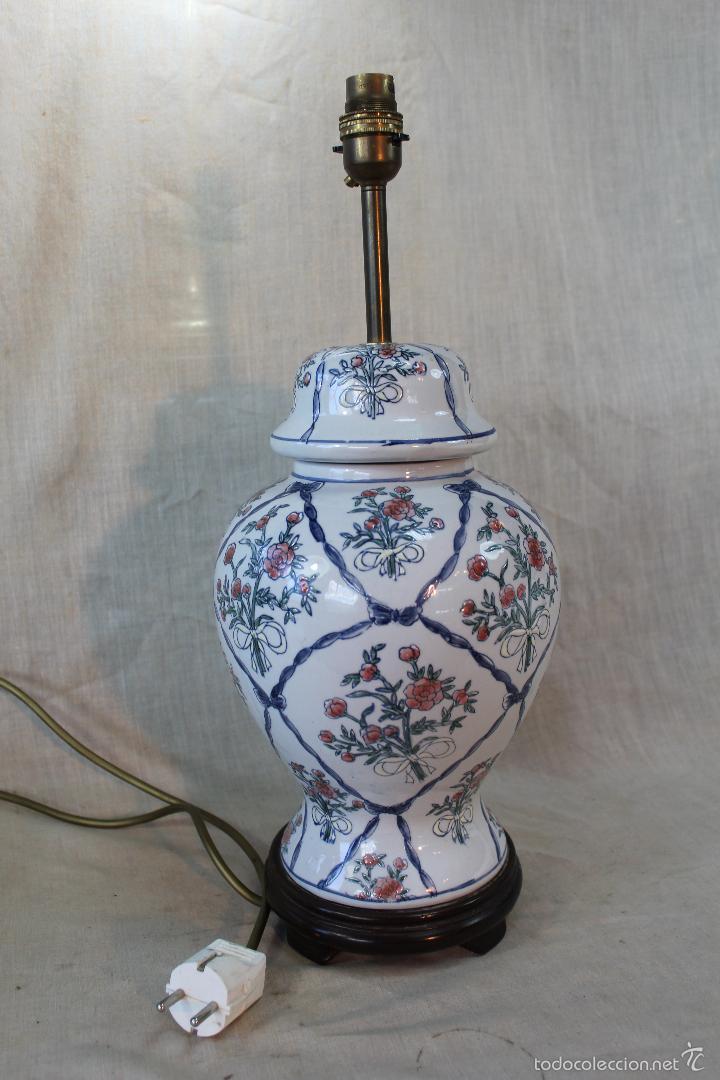 Jarron pie de lampara en ceramica comprar l mparas vintage apliques candelabros y faroles en - Lampara de pie vintage ...