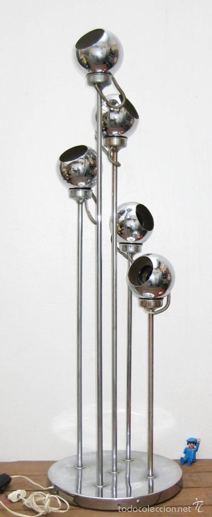 LAMPARA DISEÑO ESPAÑOL AÑOS 60 ESTUDIOS DG MADRID EDUARDO DUQUE 5 FOCOS ORIENTABLES EYEBALL (Vintage - Lámparas, Apliques, Candelabros y Faroles)
