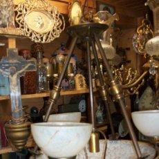 Vintage: ANTIGUA LAMPARA EN BRONCE DE TECHO DE 3 LUCES. Lote 55937451