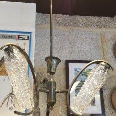Vintage: LÁMPARA TECHO TRES TULIPAS CRISTAL ALARGADAS. Lote 56085046
