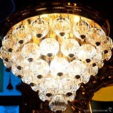 Vintage: LAMPARA TECHO TIPO CHANDELIER BOLAS CRISTAL. Lote 56286617