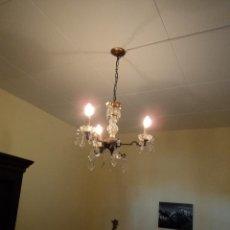 Vintage: LAMPARA DE CRISTAL Y BRONCE. Lote 56452480