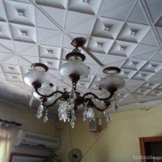 Vintage: LAMPARA ANTIGUA CRISTAL Y BRONCE. Lote 56452898