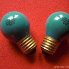Vintage: PHILIPS LOTE DE DOS LÁMPARAS BOMBILLAS LAMPARA BOMBILLA COLOR VERDE 220 230 V 25 W ESPAÑA 2 - C. Lote 56460696