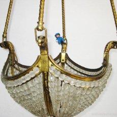 Vintage: BESTIAL LAMPARA ANTIGUA IMPERIO EN BRONCE MACIZO Y CRISTAL FACETADO FRANCES BACCARAT 115CM!! AGUILAS. Lote 56467701