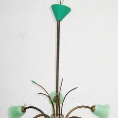 Vintage: PRECIOSA MIDCENTURY LAMP STILNOVO STYLE LATON CRISTAL Y PLASTICO AÑOS 50 . Lote 56516265