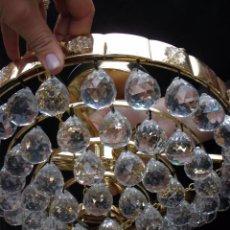 Vintage: LAMPARA CIRCULAR VINTAGE CON BOLAS DE CRISTAL FACETADO BOHEMIA 32 CM. Lote 56637650