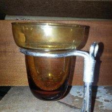 Vintage: LAMPARILLA LAMPARA DE ACEITE VASO DE CRISTAL COLOR AMBAR. Lote 56734390