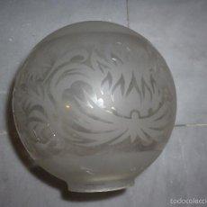 Vintage: TULIPA DE LÁMPARA EN FORMA GLOBO CRISTAL ÁCIDO. Lote 56925870