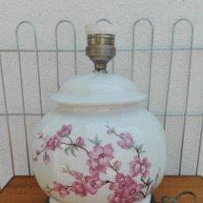 Vintage: LAMPARA MESA PORCELANA CERÁMICA MADERA VINTAGE. Lote 56971609