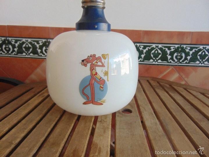 Vintage: LAMPARA DE TECHO CON GRAN TULIPA GLOBO DECORACION 4 ESCENAS DE LA PANTERA ROSA - Foto 5 - 57179504