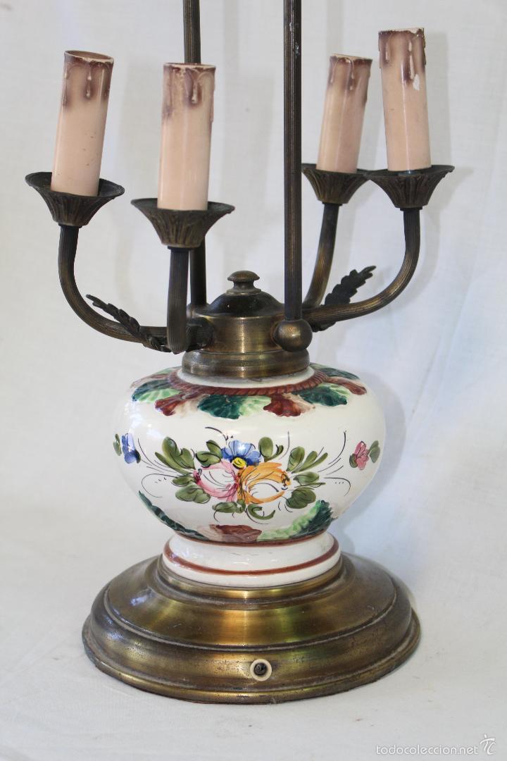 Vintage: lampara sobremesa en porcelana y metal - Foto 5 - 57420242