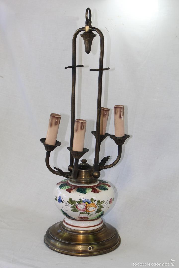 Vintage: lampara sobremesa en porcelana y metal - Foto 6 - 57420242