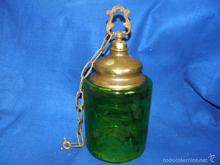 LAMPARA DE TECHO CRISTAL VERDE (Vintage - Lámparas, Apliques, Candelabros y Faroles)