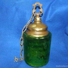 Vintage: LAMPARA DE TECHO CRISTAL VERDE. Lote 57892584