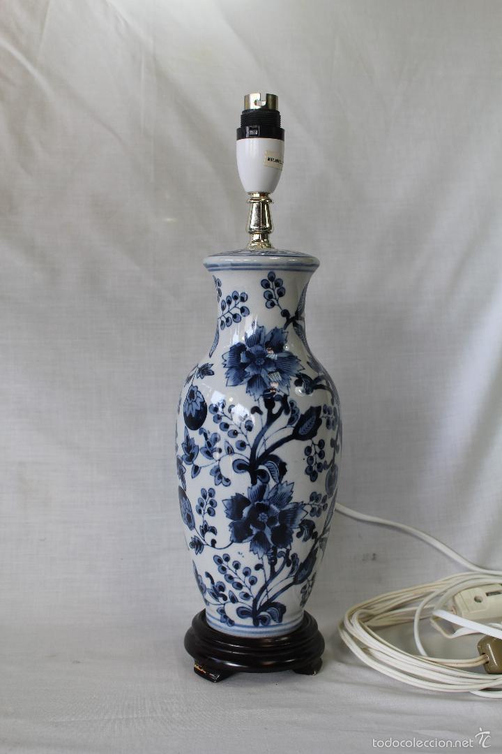 PIE DE LAMPARA EN CERAMICA Y MADERA (Vintage - Lámparas, Apliques, Candelabros y Faroles)