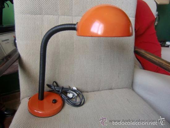 VINTAGE LAMPARA DE ESTUDIO COLOR NARANJA (Vintage - Lámparas, Apliques, Candelabros y Faroles)