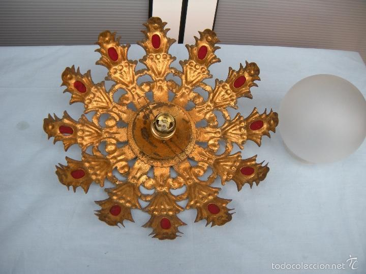 LÁMPARA DE TECHO PLAFÓN DE SOL FORJA. (Vintage - Lámparas, Apliques, Candelabros y Faroles)