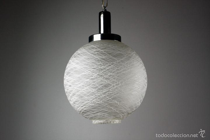 lampara de techo cristal cromado blanco vintage aos 70 - Lamparas De Techo De Cristal